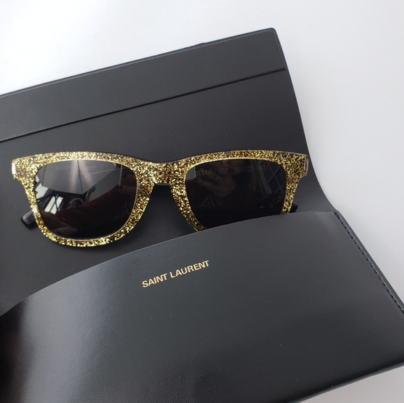 e1f9eee5dc77 Saint Laurent Accessories | Black Gold Hipster Sunglasses | Poshmark